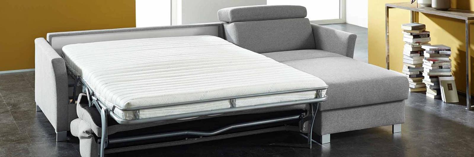 MÜNCHEN DELUXE Eckschlafsofa mit Lattenrost und Matratze. In den Liegeflächen ca. 120x200 cm, ca. 140x200 cm und ca. 160x200 cm erhältlich.