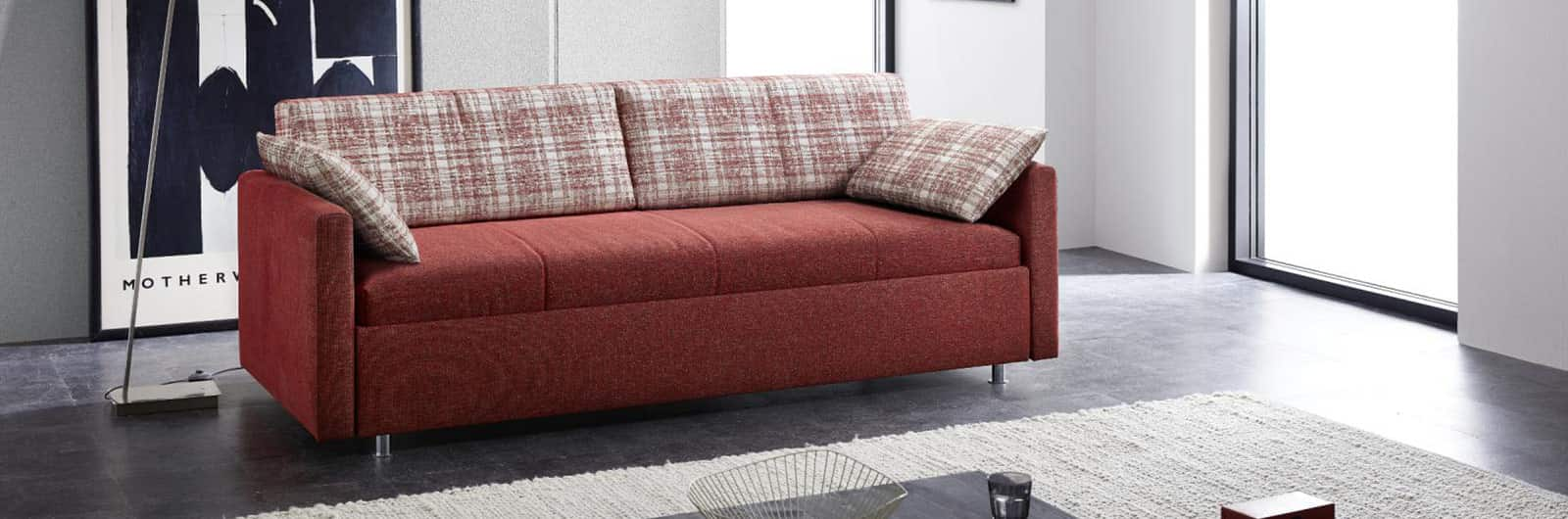 INNSBRUCK DELUXE Schlafsofa mit Lattenrost, Matratze und großen Bettkasten unter der Liegefläche